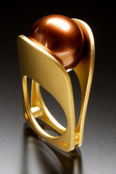 """Chocolate Kiss"" pearl and gold ring by Ivan Sagel"