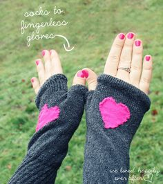We Lived Happily Ever After: Finger-less Gloves made from Socks! live happili, project, sew, crafti, craft idea, socks, gloves, diy, fingerless glove