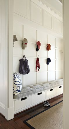 benches, mudroom bench closet, closet drawers, hous idea, wall panelling
