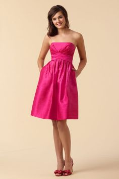 Strapless taffeta bridesmaid dress with dropped waist