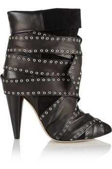 Isabel Marant Aleen belted leather and suede ankle boots | NET-A-PORTER