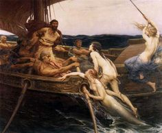 Ulysses (Odysseus) and the Sirens. Herbert James Draper, 1909.