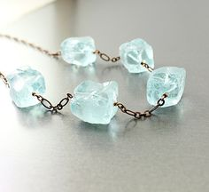 Raw quartz necklace $68.00, via Etsy.  #fashion #art #jewelry #natural @naturelook #handmade #blue #necklace