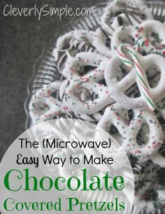 This is the easiest way to make those delicious chocolate covered pretzels!  Great tips on how to melt the chocolate in the microwave!