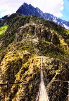 Trift Bridge in Swiss Alps, Switzerland