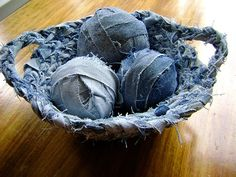 recycled jeans vessel by kamatrice;    Bowl with two handles. Would be wonderful in crochet