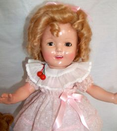 """13"""" Restored Shirley Temple Doll in Cherry Dress from animalcrackers on Ruby Lane"""