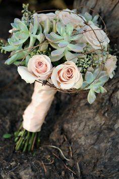 succulent bouquet with roses