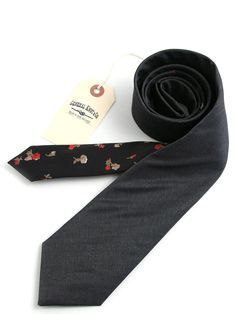 General Knot & Co - Fine Weave Charcoal and Black Floral Necktie