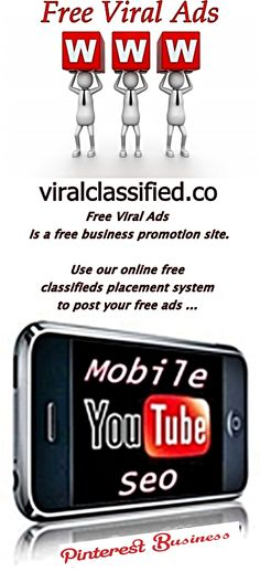 Free Viral Ads  http://viralclassified.co Viralclassified is a free business promotion site. Use our online free classifieds placement system to post your free ads ... #free #viral #classified #ads