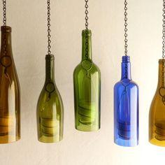 Green Glass Wine Bottle Hanging Hurricane Lantern
