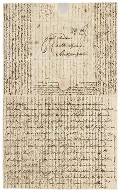 ( Jane Austen ) Letter to Cassandra dated 20-22 June 1808 while visiting at Godmersham (brother Edward's estate in Kent). With the high cost of paper every available space on the page was used; around the directions, in the margins, even overwriting was fairly common.