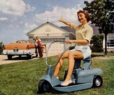 Woman on a Riding Mower, 1957.