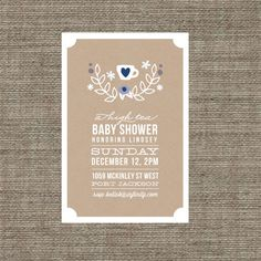 High Tea Baby Shower Invitation - Tea Party Invite for baby boy or girl - Kraft Paper Style - Printable pdf with Laurel Wreath & Heart Motif. $16.00, via Etsy.