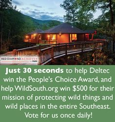 Voting ends October 11! Please vote daily and help the Deltec Homes project featured here win the People's Choice Award for the Red Diamond Award by Marvin Integrity, and our community partner, Wild South, will win $500!