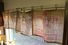 20 Cute DIY Projects With Burlap use as valance. Or add to bottom of curtains to make them long enough and use burlap tie backs.