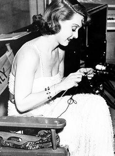 Bette Davis  http://missavagardner.tumblr.com/post/17013513305/thebettedavis-bette-davis-knitting-on-set