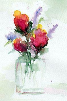 watercolor art, tattoo ideas, artists, watercolor paintings, flower art, art prints, watercolor flowers, art flowers, ann duke