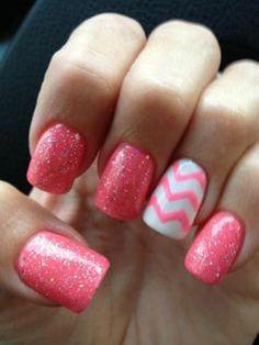#pink #chevron #nails #sparkle