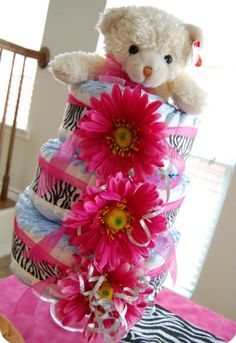 zebra print diaper cake