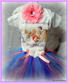 First Birthday Disney Princess Birthday Tutu  3 by LittleDivasBows, $44.00