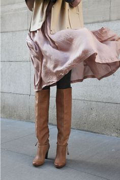 love the layers and the boots!