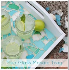 This sea glass mosaic tray is such a cute idea. It could be used as a decorative piece for a living room coffee table or a serving tray.