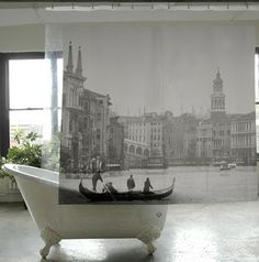 love these dreamy shower curtain cityscapes