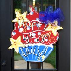 Door Hanger 4th of July Cupcake Summer Front by LooLeighsCharm, $40.00