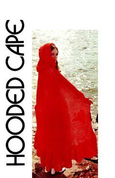 Vintage 70s Crochet Hooded CAPE Killarney Cloak by KinsieWoolShop, $3.20 crochet cloak, knittingcrochet pattern, hood cape