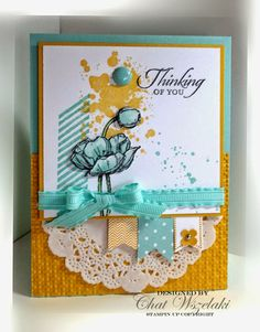 paper doilies, ribbon, color stampin