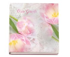 """Funeral Guest Book Glossy Hardcover Pearls 8x8"""" with Photo on Front Cover, if desired"""