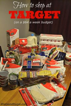 How to stretch a $64 grocery budget at Target! She even had 10 dollars left over after her trip.