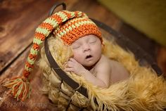 Custom Order Crochet medium length Striped Sleeper Hat Newborn and Baby Photography props #Snipits #Snipitsink #KradixPhotography