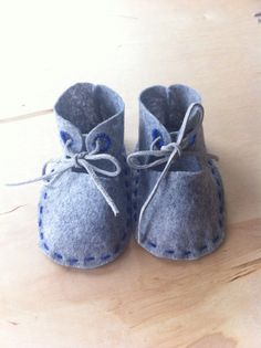 Hand stitched Baby Booties from Grey Wool Felt and Real Leather Laces $22 via @shopseen