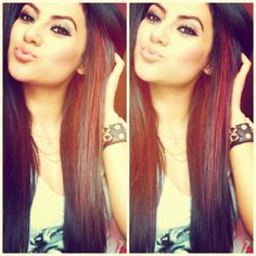 these peek a boo red highlights would look good on @Monica Forghani Hinceman with her long dark hair :)