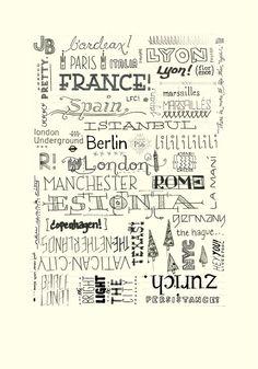 Hand drawn travel type poster! By Jordan Bell.