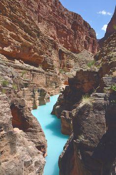 milky turquoise waters of havasu creek, arizona