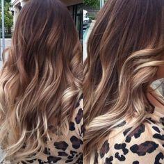 Caramel blonde balayage highlights over milk chocolate base ❤️