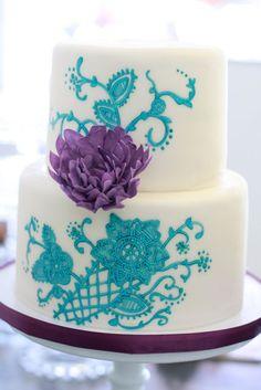 Turquoise and purple wedding cake
