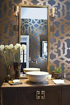 Love the graphic print wall paper- Zillow Digs