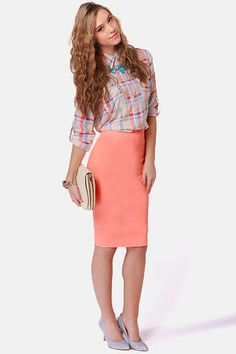 Radio Attractive Neon Coral Pencil Skirt $43 Every girl should have a pencil skirt! And I want this one!!