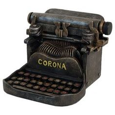 """Weathered typewriter figurine with a vintage-inspired design.  Product: Typewriter figurineConstruction Material: ResinColor: BrownFeatures: Vintage-inspired designDimensions: 5"""" H x 6.3"""" W x 6.6"""" D   ..rh"""