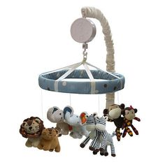 Noah's Ark Musical Mobile Monkey Lion Zebra Elephant Baby Crib Nursery