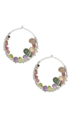 Earrings with Gemstone Beads and Wirework by Esther Pollock.