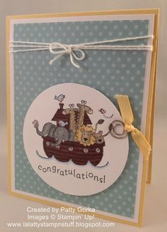 adorable handmade card ... baby congrats ... luv the Noah's Ark in a circle ... Stampin' Up!