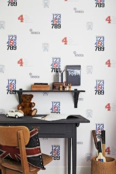Wallpaper design with sports theme, Lilleby for Borås Tapeter.