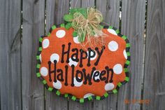 Happy Halloween  Pumpkin Burlap Door Hanger