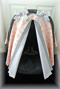 carseat canopy, car seat cover, coral, gray, polka dots, chevron, grey, bows, baby, salmon, infant girl, baby girl, baby boy, infant boy