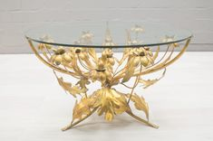 Vintage Florentine Metal Flower Coffee Table from Hans Kögl - 1960s